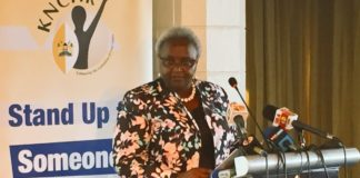 KNCHR Chairperson Ms Kagwiria Mbogori addressing the press
