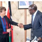 Dutch Minister for Foreign trade and Development Cooperation Lilianne Ploumen being welcomed by Health CS Cleopa Mailu