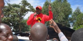 Kakamega Senatorial aspirant Stanley Livondo addressing residents