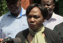 Trans Nzoia nominated Senator Catherine Mukite talking to the press