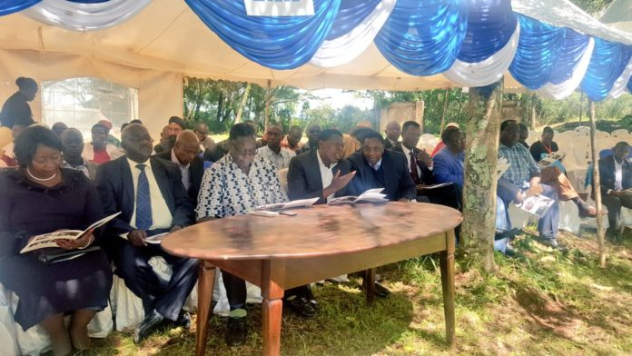 Water CS Eugene Wamalwa (second right at the front) in Trans Nzoia