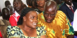 Busia First Lady Judy Onamu Ojaamong and Deputy Speaker Moses Ote at St John's Cathedral Katakwa