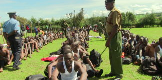 Youths in Trans Nzoia during the police recruitment exercise