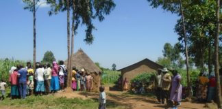 Chenjeni residents at the home of the late Gerishom Kwoba in Lugari