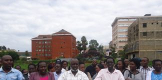 Nurses in Nandi, led by KNUN Nandi branch chairman Mr Paul Sang (centre) in a past meeting