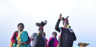 West Pokot Jubilee leaders led by Governor Simon Kachapin addressing listeners