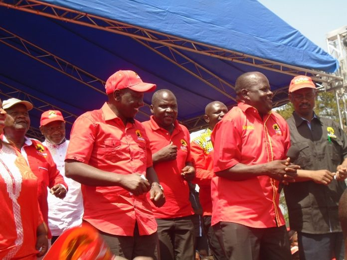 Deputy President William Ruto with Mumias East MP Benjamin Washiali and Jubilee candidates from Kakamega County