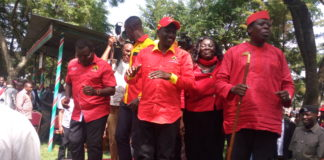 Deputy President William Ruto together with other Jubilee leaders in Webuye