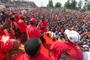 Jubilee leaders during the rally at Bukhungu stadium in Kakamega