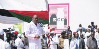 President Uhuru Kenyatta addressing listeners at the Kenya Co-operatives Creameries factory in Eldoret