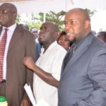 Vihiga County Director of Health Quinto Ahinduka (Centre) with the area Governor Moses Akaranga (Left) at a past function