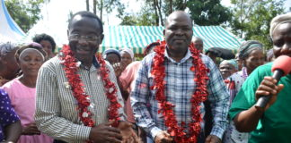 Vihiga MP Yusuf Chanzu and his running mate Dr. Billy Nyonje at Wemilabi in Luanda Sub County