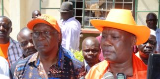 Busia Governor Sospeter Ojaamong and his running mate Moses Mulomi