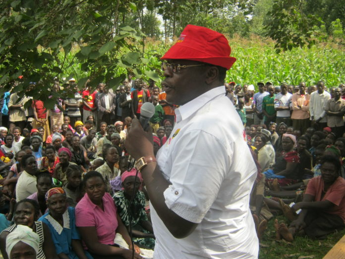 Bungoma Governor Ken Lusaka addressing residents in Tongaren