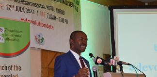 Cabinet Secretary for ICT Joe Mucheru during the launch of the devolution data portal