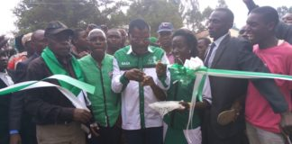 Ford Kenya party leader Moses Wetangula when he officially opened Likuyani NGCDF offices at Kongoni