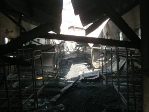 The fire burnt property belonging to students