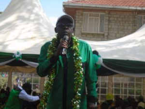 Likuyani MP Dr. Enoch Kibunguchy addressing residents when he launched his re-election campaign