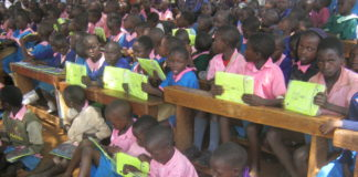 Musembe Primary School pupils after receiving the tablets
