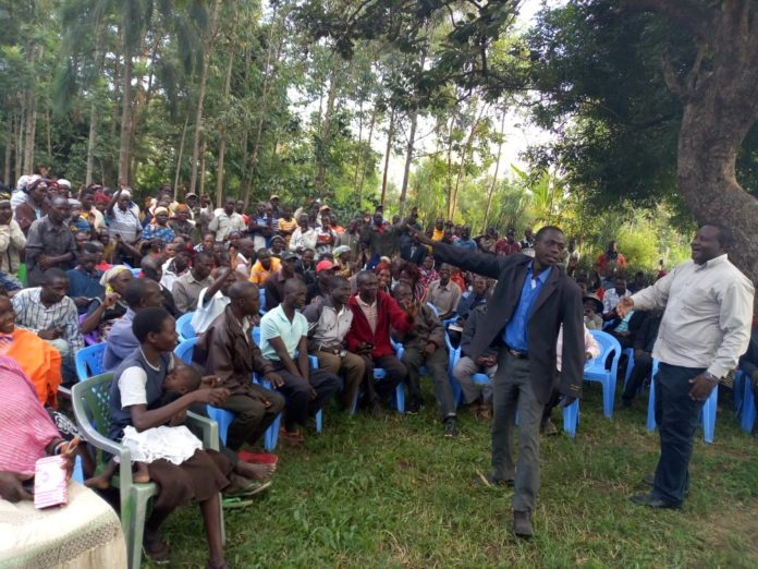 Bumula parliamentary aspirant Mwambu Mabonga addressing Netima residents in Bumula
