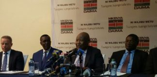 NCIC Chairperson Francis Ole Kaparo addressing the press