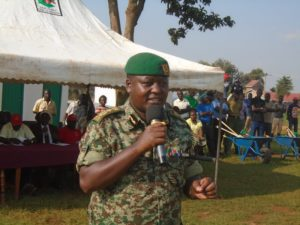 NYS deputy director general Mr. James Tembur Kipsiele addressing Likuyani residents during the launch of NYS program