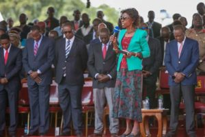 The late Joseph Nkaissery's last public appearance (second left next to Nairobi Governor Evans Kidero) was in the prayer meeting held at Uhuru Park, Nairobi