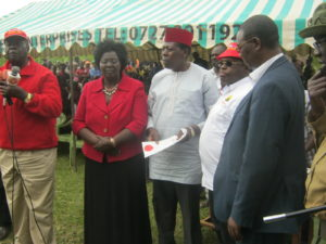From left; Dr. Noah Wekesa, Bungoma Woman representative Reginalda Wanyonyi, Water CS Eugene Wamalwa, Bungoma Governor Ken Lusaka at the function