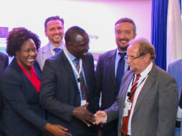 Agriculture Cabinet Secretary Willy Bett (centre) commended the EU for their contribution to the cassava project