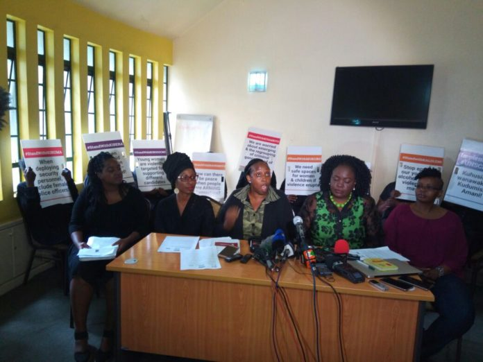 Women peace builders during a press conference in Nairobi
