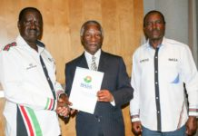 Former South Africa President Thabo Mbeki (centre) after meeting NASA leaders Raila Odinga and Kalonzo Musyoka