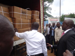 Governor Stephen Sang checking the consignment