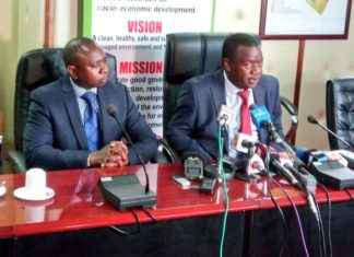 Environment PS Charles Sunkuli (right) addressing the press