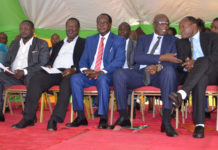 (From left) Vihiga Senator George Khaniri, ANC Party Leader Musalia Mudavadi, Vihiga Governor Wilber Otichilo, the outgoing Governor Moses Akaranga and Vihiga Deputy Governor Patrick Saisi