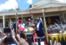 Trans Nzoia Governor Patrick Khaemba being sworn in for his second term in office