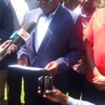 Outgoing Bungoma Governor Kenneth Lusaka addressing the press