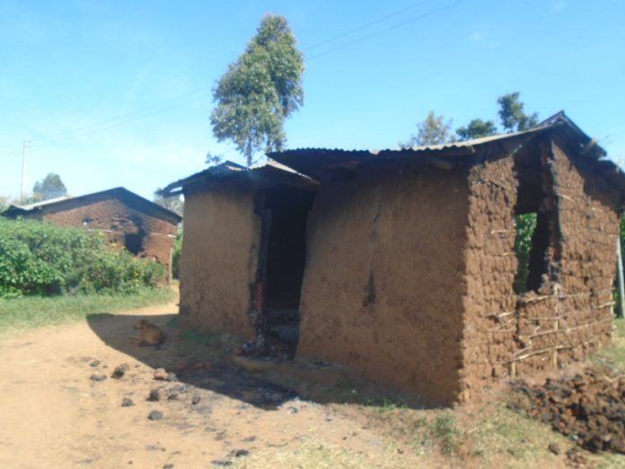 Some of the burnt houses after an inter community clash in Soy sub county