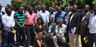 The newly elected Members of Vihiga County Assembly with Governor elect Wilber Otichilo (centre) after their first meeting