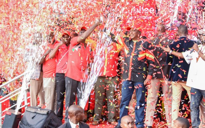 Jubilee presidential candidate Uhuru Kenyatta outlined the gains made by his administration during the rally at Uhuru Park