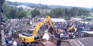 Rescue process going on after the building collapsed. Forty people have been rescued