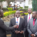 Nandi Governor Stephen Sang addressing the press. FILE PHOTO