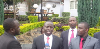 Nandi Governor Stephen Sang together with the County speaker Joshua Kiptoo addressing the press