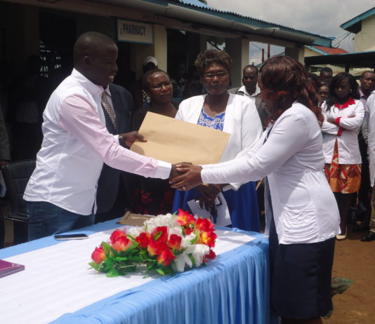 Nandi Governor Stephen Sang giving promotions to over 400 nurses