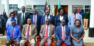 West Pokot Governor John Lonyangapuo with the County Executive Members