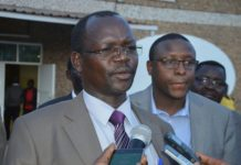 West Pokot Governor John Lonyangapuo addressing the press