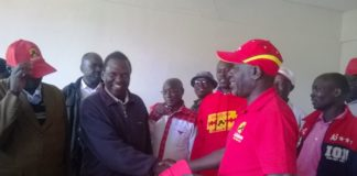 Kakamega County Jubilee party Organizing Secretary Mr. Tony Nabwera left when he received Likuyani Ford Kenya chairman Timothy Mulanda in Jubilee party