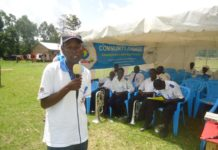 Mr. Jackson Murunga addressing parents and caregivers in Matete