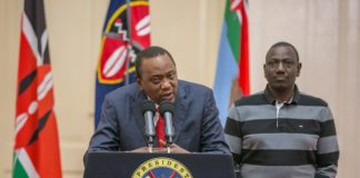 President Uhuru Kenyatta addressing the press after the ruling made by the Supreme Court to nullify Presidential results