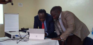 Vihiga Governor Dr. Wilber Ottichilo (left) during the launch