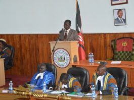 West Pokot Governor John Lonyangapuo during his address in the County Assembly
